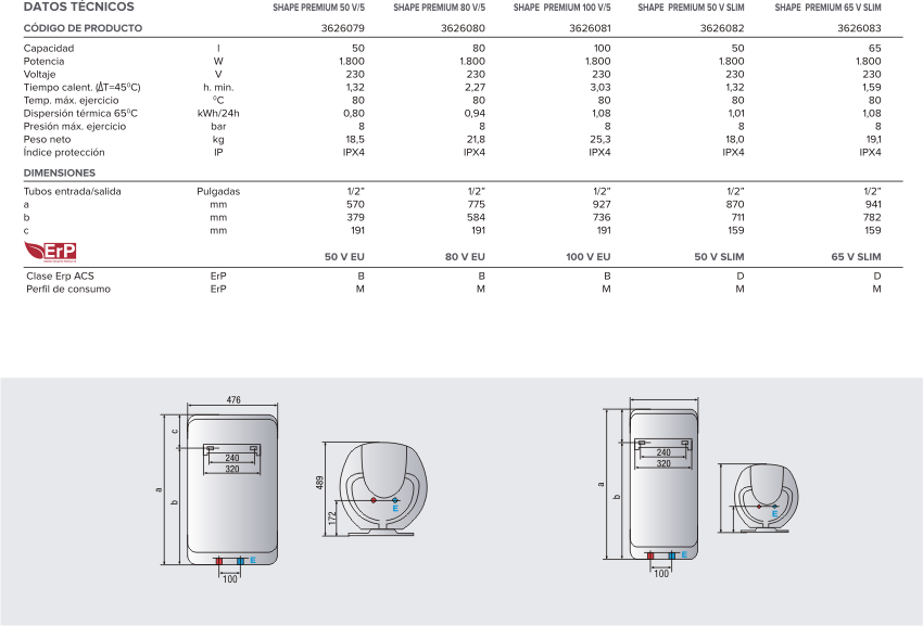 Ariston shape premium 50 v slim termos mediana capacidad for Ariston shape premium 100